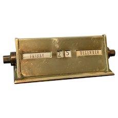 Antique Victorian Brass Calendar