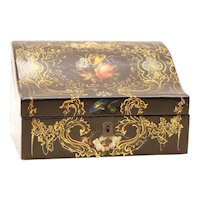 Victorian Papier Mache and Lacquer Stationery Box