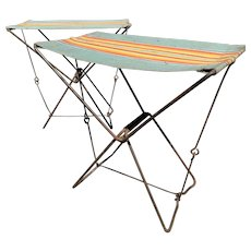 Pair of Vintage French Folding Camping Chairs