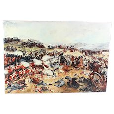 Oil on canvas depicting the Battle of Waterloo