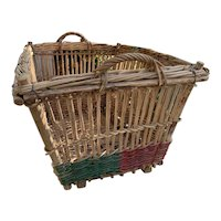 Huge Antique French Wicker Basket