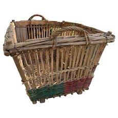 Huge Antique French Wicker Basket
