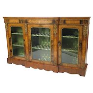 Gilt-Bronze Mounted Marquetry Walnut Breakfront Cabinet