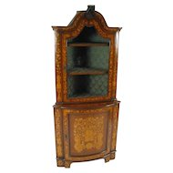 19th Century Dutch Marquetry Corner Cabinet