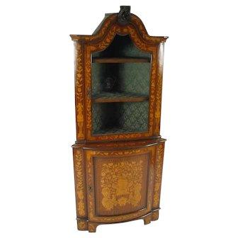 19th Century Dutch Marquetry Corner Cabinet