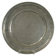 French Baroque Period Stipple-Engraved Pewter Plate
