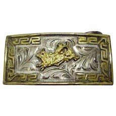 Vintage Silver and Gold Plated Mexican Rodeo Belt Buckle by Jose Valadez, Cowboy Bull Rider.