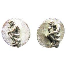 """1960's Rodin's """"The Thinker"""" Cufflinks in Silvertone setting"""