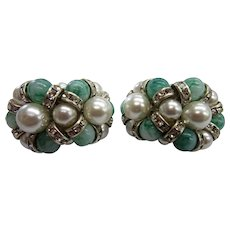 Pair of 1960's Clip-on Earrings with Faux Pearls, Green Beads and Rhinestones