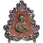 Vintage Christian Catholic Alter piece of Jesus Exposing the Sacred Heart, Wood and Metal 1930's French