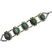 Fun Vintage Egyptian Revival Scarab Bracelet With Glazed Ceramic Blue Beetles, Made in Egypt