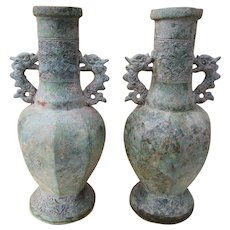 Pair of Vintage Chinese Tang Dynasty Style Bronze Vases with Creature Handles and Decoration