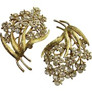 Pair of Vintage Mid-Century Rhinestone Floral Brooches by Emmons