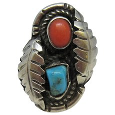 1930's Navajo Sterling Silver Turquoise and Coral Ring. sz. 5