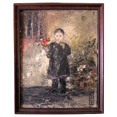 "1920's Impressionist Oil Portrait Painting of Chinese Child Holding Flowers in San Francisco Chinatown 10""x 8"" Framed"
