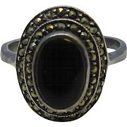 Vintage Oval Marcasite and Onyx Sterling Silver Ring Size 9