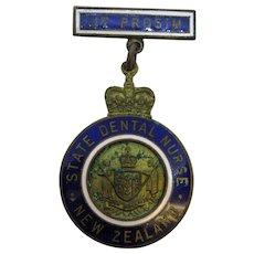 1971 State Dental Nurse of New Zealand Enameled Medal UT PROSIM
