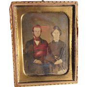 1850's Daguerreotype photograph of Newlyweds, Silver color Photo in Golden Frame