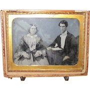 Rare 1850's Ambrotype photo of Young Couple. Wedding Picture. Handsome Groom & Bride.