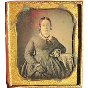 Lady with Lacey Gloves. 1850's Daguerreotype photo.