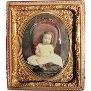 Charming Little Girl in Chair Daguerreotype Photo, circa 1850's, Child