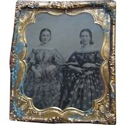1860's Tintype photograph of Two Young Ladies in the Finest Floral Gowns