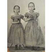 1860's Tintype Photo of 2 Young Girls in Matching Gingham Dresses. Sisters.