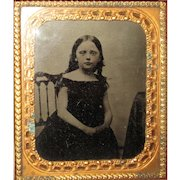 Lovely Dark Haired Girl Tintype Photo in Case. Circa 1860's.