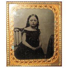 Lovely Dark Haired Girl Tintype Photo in Case. Circa 1860's.
