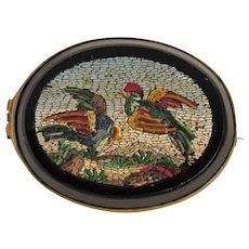 Antique Micro-mosaic brooch of Two Colorful Birds. Italian c.1800's Possibly Parrots
