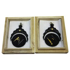 Pair of Antique Masonic Spinning Watch Fobs Black Enamel, Silver & Gold in Original Boxes - Red Tag Sale Item