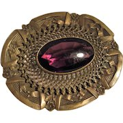 Lovely Edwardian Era Purple Art Glass and Metal Oval Brooch with Floral and Ribbon Piercework Design