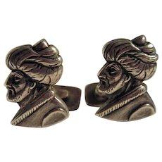 Pair of 1930's 900 Silver Turk Cufflinks Man Wearing Turban