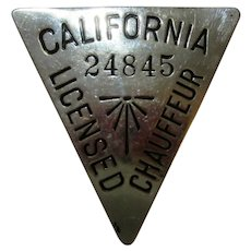 Vintage 1930's California Licensed Chauffeur Chrome Badge #24845 Triangle Shaped
