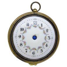 Antique Gilt Bronze and Porcelain Clock Faced Compact/Powder Puff Pocket Watch