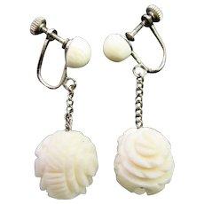Vintage 1950's Chinese Carved Bone Rose Bead Screwback Earrings