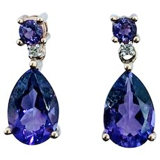 Beautiful Amethyst & Diamond Earrings