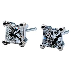 .97ctw Princess-Cut Diamond Stud Earrings