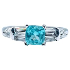 Electric Blue Zircon and Diamond Ring 14K White Gold