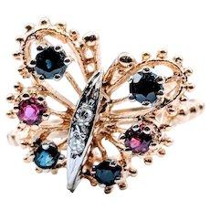 Butterfly Ring Ruby Sapphire Diamond 14k
