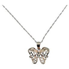 """Filigree Butterfly Pendant and 18"""" Chain"""