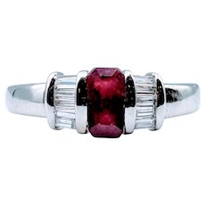 Vintage Platinum Custom Ruby & Diamond Ring