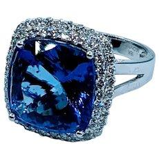 Stunning Tanzanite & Diamond Halo Ring