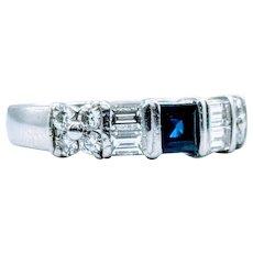 **Saturday Sale** Unique Sapphire and Diamond Platinum Ring