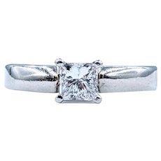 1/2 Carat Princess Cut Diamond & Platinum Ring