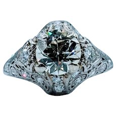 Intricate Old European Cut Diamond Platinum Ring