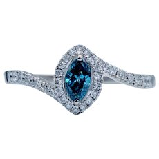Blue Marquise Diamond Engagement Ring