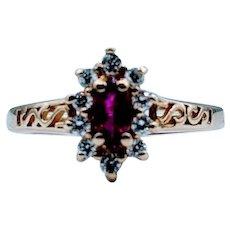 Vintage 1/3ct Ruby & Diamond Ring