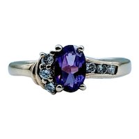 Unique Amethyst & Diamond Ring