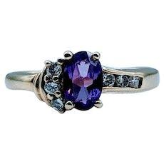 Unique Amethyst & Diamond Ring